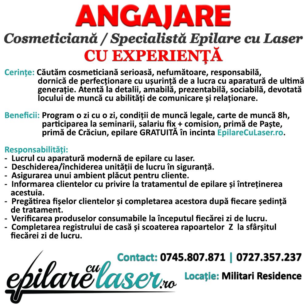 Angajăm Cosmeticiană - Specialistă Epilare cu Laser CU EXPERIENȚĂ